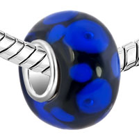 Charms Beads - SAPPHIRE BLUE DOTS PETALS ONYX BLACK FIT ALL BRANDS MURANO GLASS BEADS CHARMS BRACELETS alternate image 1.