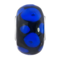 Charms Beads - SAPPHIRE BLUE DOTS PETALS ONYX BLACK FIT ALL BRANDS MURANO GLASS BEADS CHARMS BRACELETS alternate image 2.
