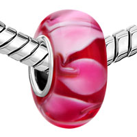 Sterling Silver Jewelry - RED PINK PETALS 925  STERLING SILVER JEWELRY MURANO GLASS BEADS CHARMS BRACELETS FIT ALL BRANDS alternate image 1.