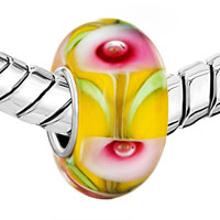 Sterling Silver Jewelry - YELLOW WITH PINK PETAL GREEN LEAF 925  STERLING SILVER MURANO GLASS BEADS CHARMS BRACELETS FIT ALL BRANDS alternate image 1.