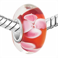 Sterling Silver Jewelry - GARNET RED PINK FLOWER BUBBLE 925  STERLING SILVER MURANO GLASS BEADS CHARMS BRACELETS FIT ALL BRANDS alternate image 1.
