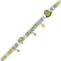 Italian Charms - 18  LINKS DANGLING SHREK ASSORTED LICENSED ITALIAN CHARMS BRACELET SHREK ITALIAN CHARM alternate image 1.
