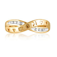 Rings - DIAMOND ACCENT SPLIT SHANK MOM BAND IN STERLING SILVER AND 10 K GOLD PLATE SIZE 8   RING alternate image 1.