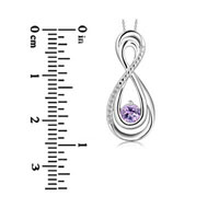 Sterling Silver - 4.0 MM LAB CREATED ALEXANDRITE AND DIAMOND ACCENT INFINITY LOOP PENDANT IN STERLING SILVER STERLING SILVER PENDANT alternate image 1.