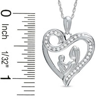 Sterling Silver - 1/10  CT.  T. W.  DIAMOND MOTHERLY LOVE SWIRL HEART PENDANT NECKLACE IN STERLING SILVER STERLING SILVER PENDANT alternate image 1.
