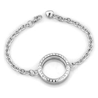 KSEB SHEB Items - NEW ROUND SHAPED CLEAR CRYSTAL LOCKET CHAIN BRACELET 9.8  INCHES alternate image 3.