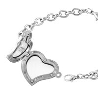 KSEB SHEB Items - FASHION HEART SHAPED CLEAR CRYSTAL LOCKET CHAIN BRACELET 7.9  INCHES alternate image 1.