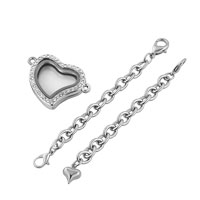 KSEB SHEB Items - FASHION HEART SHAPED CLEAR CRYSTAL LOCKET CHAIN BRACELET 7.9  INCHES alternate image 2.