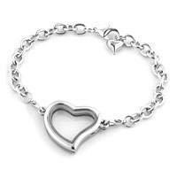 KSEB SHEB Items - FASHION HEART SHAPED PURE FACE LOCKET CHAIN BRACELET 7.9  INCHES alternate image 3.