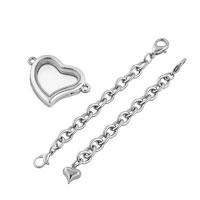 KSEB SHEB Items - FASHION HEART SHAPED PURE FACE LOCKET CHAIN BRACELET 7.9  INCHES alternate image 2.