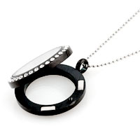 Necklace & Pendants - NEW JEWELRY BLACK MEDIUM LIVING LOCKET BIRTHSTONES CHARMS PENDANT NECKLACES alternate image 1.