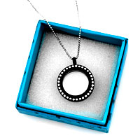 Necklace & Pendants - NEW JEWELRY BLACK MEDIUM LIVING LOCKET BIRTHSTONES CHARMS PENDANT NECKLACES alternate image 2.