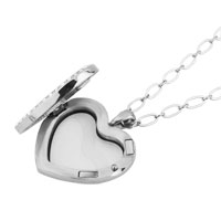 Necklace & Pendants - SILVER P CRYSTAL HEART SHAPE LIVING IN MEMORY LOCKET CHAINS PENDANT NECKALCE alternate image 1.
