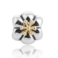 Sterling Silver Jewelry - STERLING SILVER FASHION 14 K GOLD FLOWER BEADS CHARMS BRACELETS FIT ALL BRANDS alternate image 1.