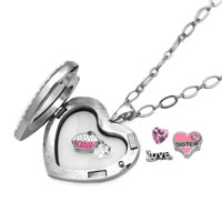 KSEB SHEB Items - LOVE HEART CRYSTAL SISTER BIRTHSTONE CHARMS LIVING LOCKET CHAIN NECKLACE alternate image 1.