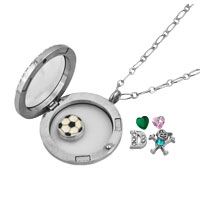 KSEB SHEB Items - NEW FOOTBALL CRYSTAL BOY FLOATING CHARMS LIVING LOCKET CHAINS NECKLACE alternate image 1.