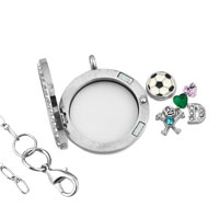 KSEB SHEB Items - NEW FOOTBALL CRYSTAL BOY FLOATING CHARMS LIVING LOCKET CHAINS NECKLACE alternate image 2.