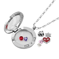 KSEB SHEB Items - ANIMAL PANDA HEART STAR BIRTHSTONES SILVER LIVING LOCKET CHAINS NECKLACE alternate image 1.