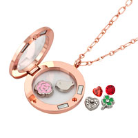 KSEB SHEB Items - ROSE GOLDEN LIVING LOCKET +  FLOATING CHARMS BIRTHSTONES +  CHAIN NECKLACE alternate image 1.
