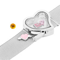 KSEB SHEB Items - NEW HEART PURE FACE LIVING MEMORY LOCKETS SILVER TONE BRACELET alternate image 1.