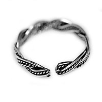 Rings - 925  STERLING SILVER WOMENS/ LADY FASHION BAND WAVE RING OPENING ADJUSTABLE alternate image 1.