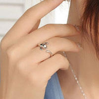 Rings - 925  STERLING SILVER LOVELY CUTE CAT RINGS WOMENS LADY TAIL FINGER FASHION RING alternate image 1.