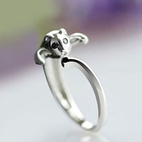 Rings - 925  STERLING SILVER LOVELY CUTE CAT RINGS WOMENS LADY TAIL FINGER FASHION RING alternate image 2.