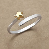 Rings - 925  STERLING SILVER CUTE KOREAN STAR ROSE GOLD PLATED OPEN FASHION FINGER RING alternate image 1.