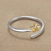 Rings - 925  STERLING SILVER CUTE KOREAN STAR ROSE GOLD PLATED OPEN FASHION FINGER RING alternate image 2.