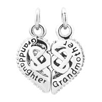 Charms Beads - 2  PCS HEART GRANDMOTHER GRANDDAUGHTER HOLLOW FIT NECKLACE BEADS CHARMS BRACELETS ALL BRANDS alternate image 2.