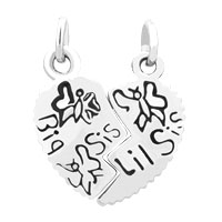 Charms Beads - 2  PCS HEART SHAPE BIG SISTER FIT NECKLACE BEADS CHARMS BRACELETS ALL BRANDS alternate image 2.