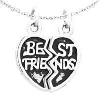 Charms Beads - 2  PCS HEART SHAPE BEST FRIENDS FIT NECKLACE BEADS CHARMS BRACELETS ALL BRANDS alternate image 1.