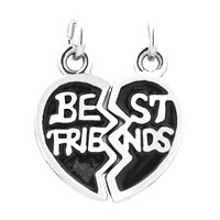 Charms Beads - 2  PCS HEART SHAPE BEST FRIENDS FIT NECKLACE BEADS CHARMS BRACELETS ALL BRANDS alternate image 2.