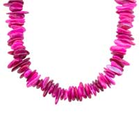 Necklaces - CHIP STONE NECKLACES BRIGHT PINK GENUINE STONE CHIPS NECKLACE alternate image 1.