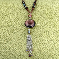 Murano Glass Jewelry - CHAIN WITH DOUBLE STRAND BEAD DANGLE MURANO GLASS OVAL AND ROUND SUMMER PENDANTS NECKLACE alternate image 2.