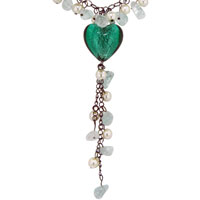 Murano Glass Jewelry - TURQUOISE HEART DANGLE CHIP STONE MURANO GLASS PENDANT NECKLACE alternate image 1.