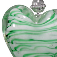 Necklaces - WHITE AND GREEN STRIPED HEART MURANO GLASS SUMMER WEDDING PENDANT NECKLACES alternate image 1.