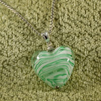 Necklaces - WHITE AND GREEN STRIPED HEART MURANO GLASS SUMMER WEDDING PENDANT NECKLACES alternate image 2.