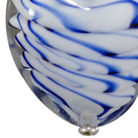 Necklaces - ROYAL BLUE STRIPED MURANO GLASS HEART SUMMER PENDANTS NECKLACE alternate image 1.