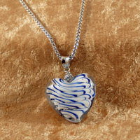 Necklaces - ROYAL BLUE STRIPED MURANO GLASS HEART SUMMER PENDANTS NECKLACE alternate image 2.