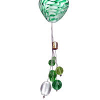 Necklaces - GREEN AND WHITE HEART DANGLE LAMPWORK MURANO GLASS WEDDING PENDANT NECKLACE alternate image 1.