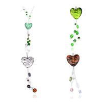 Necklaces - GREEN AND WHITE HEART LAMPWORK MURANO GLASS DANGLE PENDANT NECKLACE alternate image 1.