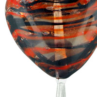 Necklaces - BLACK AND ORANGE MURANO GLASS HEART DANGLE MULTI STRAND WITH BALL SUMMER PENDANTS NECKLACE alternate image 1.