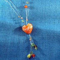 Necklaces - ORANGE TIGER STRIPES HEART DANGLE COLORFUL MURANO GLASS BEADS SUMMER PENDANTS NECKLACE alternate image 2.