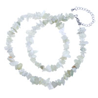Necklace & Pendants - CHIP STONE NECKLACES GENUINE STERLING SILVER 925 GREEN AVENTURINE GEMSTONE NUGGET CHIPS STRETCH NECKLACES alternate image 1.