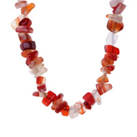 Necklace & Pendants - CHIP STONE NECKLACES GENUINE CORAL LIGHT RED SEMI PRECIOUS GEMSTONE NUGGET CHIPS STRETCH NECKLACE alternate image 1.