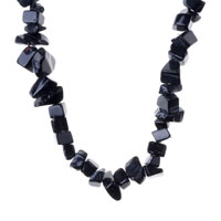 Necklace & Pendants - BLACK ONYX CHIP STONE NECKLACES NUGGET CHIPS STRETCH NECKLACE alternate image 1.