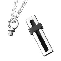 New Arrivals - SILVER CREMATION JEWELRY URN NECKLACE CUBOID MEMORIAL KEEPSAKE PENDANT ASHES alternate image 1.