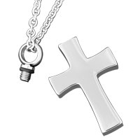 Necklace & Pendants - CROSS CREMATION JEWELRY CREMATION URN NECKLACE SILVER CROSS URN PENDNAT URN PENDANT alternate image 1.