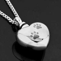 Necklace & Pendants - CREMATION URN JEWELRY NECKLACE PAW PRINT HEART SILVER MEMORIAL PENDANT ASHES alternate image 1.